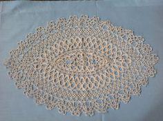 FREE SHIPPING.... Beautiful Vintage Ecru Handmade Cotton Tatting Lace Oval shaped Doilie. by fleursenfrance. Explore more products on http://fleursenfrance.etsy.com