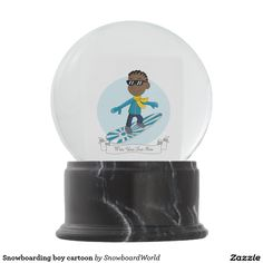 Snowboarding boy cartoon snow globes