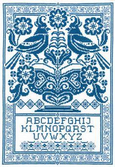 Sampler in Blue - Cross Stitch Pattern - 123Stitch.com