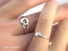 Mother Daughter ring Mom and Baby ring Baby gift ring Baby ring Heart ring set - Baby girl  gift - A Pair of two Sterling silver ring (64.99 USD) by ViaPrairie