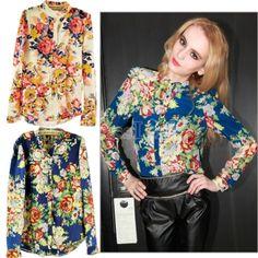 Women Long Sleeve Floral Pattern Cardigan Chiffon Blouse Tops Shirts 2Colors