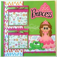 Premade Scrapbook Page Layout Paper Piecing 12x12 Girl Princess Handmade Elite4U