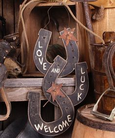 This 'Welcome' Horseshoe Sign is perfect! #zulilyfinds