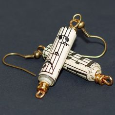 Paper Bead Jewelry- Brass Sheet Music Paper Bead Earrings