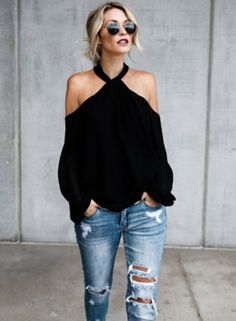 Pretty Off Shoulder Outfits Ideas To Wear This Summer Spring Outfits, Trendy Outfits, Cute Outfits, Fashion Outfits, Womens Fashion, Off Shoulder Outfits, Blouse Outfit, Halter Top Outfit Jeans, Plain Shirt Outfit