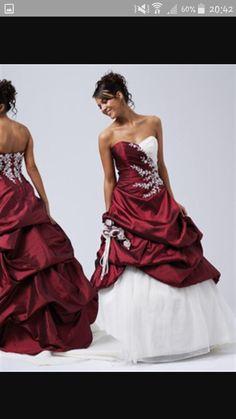Rood witte trouwjurk