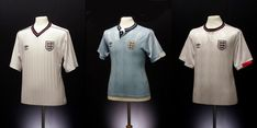 We catalogue 50 years of kit history, with our favourite of Umbro's England Shirts and kits and run-downs of the technology they used. England Kit, Chef Jackets, Polo Ralph Lauren, 1980s, Mens Tops, Shirts, Fashion, Moda, Fashion Styles
