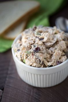 This is my favorite chicken salad recipe! It's packed with sweet dried cranberries, pecans and a delicious sauce. | This Gal Cooks
