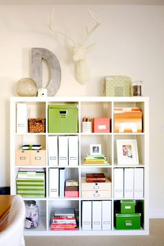 Organization for home office with Ikea book shelves. Office Organization, Office Storage, Organized Office, Office Shelving, Cube Storage, Bookcase Organization, Office Shelf, Ikea Storage, Storage Ideas
