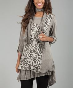 Look at this Anabelle Beige Floral Lace Sidetail Tunic