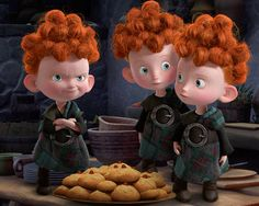HAMISH, HARRIS AND HEUBERT -- THE TRIPLETS FROM 'BRAVE' -- They're Scottish, they're mischievous red heads, and there's three of them