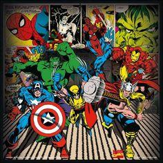 Bienvenue dans le monde des Marvels Comics ! Hulk, Spiderman, Iron Man, Thor, ou encore Capitain America sont tous présents sur ce tableau aux allures de bande dessinée ! Mettez de la vie dans sa chambre et choisissez de décorer avec ses héros préférés. Format : 26 x 26 cm