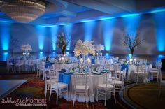 Reception at the Peabody Hotel, in Orlando with A Chair Affair white, chiavari chairs.