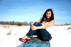winter photoshoot with a cool old chair instead of red shoes, maybe red scarf or tie