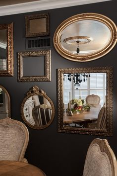 Mirror gallery wall in traditional gray dining room mirror ceiling, round wall mirror, floor Mirror Wall Collage, Mirror Gallery Wall, Wall Mirrors Entryway, Small Wall Mirrors, Rustic Wall Mirrors, Contemporary Wall Mirrors, Living Room Mirrors, Dining Room Walls, Round Wall Mirror