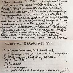 Country Breakfast Pie Quick & Easy