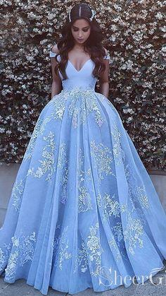 Light Blue Tulle Ball Gown Prom Dresses, Lace Appliques Off Shoulder Prom Gowns, Ball Gowns, Blue Wedding Dress, Light Sky Blue Tulle Prom Dress With Appliques Princess Prom Dresses, V Neck Prom Dresses, Prom Dresses 2018, Long Prom Gowns, Ball Gowns Prom, Blue Wedding Dresses, Ball Dresses, Prom Party Dresses, Gown Wedding