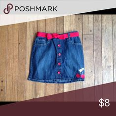 Gymboree jean skirt with cherries and red belt Jean skirt with red belt, buttons, and cherries. Gymboree Bottoms Skirts