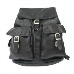 Piel Leather Large Buckle- Flap Backpack, Black Piel Leather. Save 54 Off!. $132.18