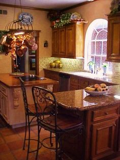 OLD WORLD FRENCH COUNTRY TUSCAN KITCHEN REMIX, Changed everything (including kitchen sink!).  We moved too often to do anything structural.  Gentle decorating suggestions welcomed!  Just added a pic showing the view from window....brick wall is our detached garage! :)  , Kitchens Design