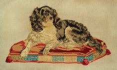 early victorian king charles spaniel needlepoint