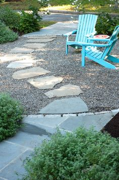 Pavers in gravel pathway