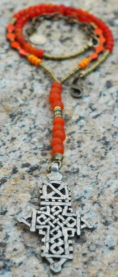 Choose Your Color Everyday Ethiopian Cross Pendant Necklace