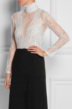 Altuzarra | Cristal Chantilly lace turtleneck blouse | NET-A-PORTER.COM