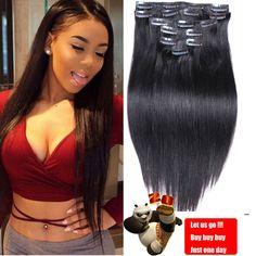 7A De Luxe Clip Brésilien Dans Extensions de Cheveux Humains Naturel Mélanges cheveux Clip Dans Soyeux Humain Droite de Cheveux Humains Clip Dans Extensions