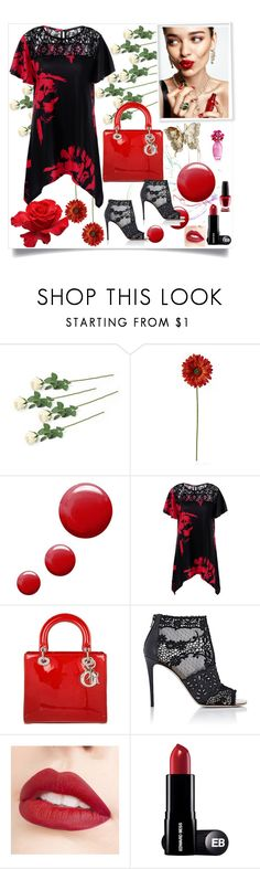 """Untitled #42"" by miki-383 ❤ liked on Polyvore featuring Topshop, Christian Dior, Valentino, Jouer, OPI and KAROLINA"