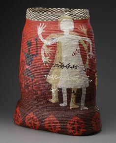 Elizabeth Whyte Schulze,  Listen To Me,  Pine needles, raffia, paper, acrylic paint, coiling
