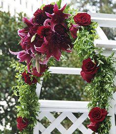 Fall Wedding Arch Decorations | Photo of Wedding Ceremony Gazebo Arch Floral Decoration