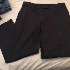 Lane Bryant Career Slacks: Size 18 Regular Charcoal gray straight-leg slacks. Stretch material. Never worn. 2 rear pockets still sewn shut. Belt loops. Lane Bryant Pants Straight Leg
