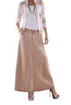 "Skirt Details: * floor length 37.5"" * regular fit * stretch brushed brown denim * four pockets styling * belt loops & front zipper * embroidery & rhinestone pockets design * A-line style long skirt *"