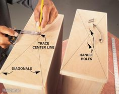 Here's a quick and easy way to perfectly center drawer handles and pulls and mark them for drilling. Use a straightedge and light pencil lines to mark diagonals from the corners of the drawer face to pinpoint the center. That's all you'll need for a single screw handle. For handles with two holes, adjust a try square to the center point and scribe the horizontal handle line. Divide the handle hole spacing (usually 3 or 4 in.) by two and mark the drill holes on the line on either side of the…