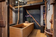 """Japanese soaking tubs are known as """"ofuro."""" They are much deeper compared to the traditional western bathtub. Ofuro tubs are traditionally made of Hinoki Industrial Home Design, Industrial Bathroom, Industrial House, Rustic Design, Japanese Soaker Tub, Japanese Soaking Tubs, Japanese Spa, Japanese Modern, Japanese Aesthetic"""