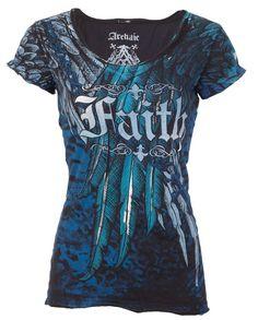 e224f0b58 Archaic AFFLICTION Womens T-Shirt ACTIVE FAITH Wings BLACK Biker UFC Sinful  $40 | eBay
