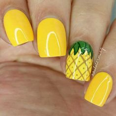 If you're looking to do seasonal nail art, spring is a great time to do so. The springtime is all about color, which means bright colors and pastels are becoming popular again for nail art. These types of colors allow you to create gorgeous nail art. Pineapple Nails, Watermelon Nails, Pineapple Jewelry, Pineapple Yellow, Pineapple Fruit, Pineapple Design, Nails Yellow, White Nails, Nagel Hacks