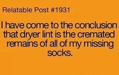 Relatable Post #1931:   I HAVE COME TO THE CONCLUSION THAT DRYER LINT IS THE CREMATED REMAINS OF ALL OF MY MISSING SOCKS.