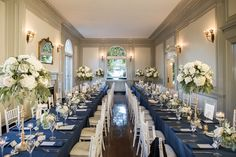 Eolia mansion Harkness state park wedding Navy and white wedding Brooch bouquet Rectangle Wedding Tables, Long Table Wedding, Wedding Brooch Bouquets, Floral Wedding, Wedding Navy, Park Weddings, Navy And White, Floral Design, Table Settings