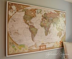 World Maps on a wall create great impact in a room. This map looks vintage, but is brand new.