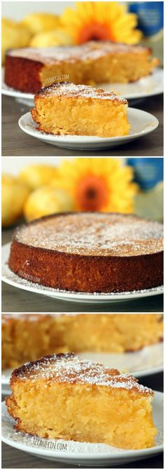 This grain-free Italian lemon cake (also known as torta caprese bianca) is made with almond flour and is full of lemon flavor! #Cake #Lemon #Almond #GF #Grainfree