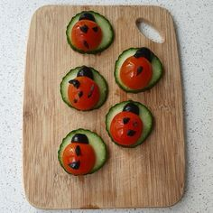 Ladybugs from fresh cucumbers, tomatoes and black olives. Stay Hydrated, Ladybugs, Olives, Tomatoes, Benefit, Vegan Recipes, Fresh, Photo And Video, Instagram