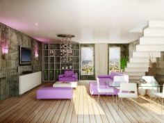 Living room with purple furniture