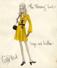 Edith Head Design, 1969: Represented here is a fashion style created for Joanne Woodward in her role of Elora Capua. The story was west in the racing world and was about race driver Frank Capua (Newman) who dreams of winning the Indianapolis 500. For the boutique version Head suggested that it be made in a crepe weight material with leather accents.