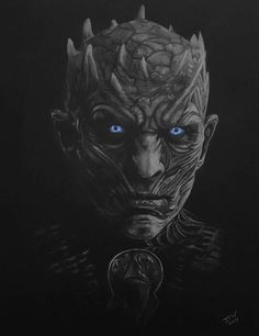 This highly detailed drawing of the Night King from the HBO drama Game of Thrones. Done on quality canford black paper, size is approximately 12x15 inches. The artwork is done with high quality lightfast white, blue and gray coloured pencils. The drawing is unframed and unmounted as standard and will be packaged safely in a plastic folder and cardboard backed envelope.   This drawing is the genuine article, not a print or drawn over a print. All my art is done using traditional techniques…