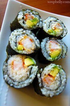 Home rolled shrimp tempura rolls