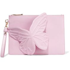 Sophia Webster Flossy embellished leather clutch (€335) ❤ liked on Polyvore featuring bags, handbags, clutches, baby pink, real leather purses, leather handbags, butterfly handbags, cell phone purse and genuine leather purse