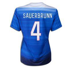 2015 FIFA Women's World Cup USA Becky Sauerbrunn 4 Women Away Soccer Jersey