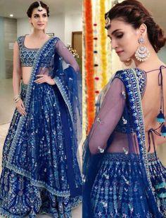 Blue Bridal lehenga Choli Textile Mall Textile Now at TextileMall. Indian Wedding Lehenga, Bridal Lehenga Choli, Blue Lehenga, Ghagra Choli, Indian Lehenga, Silk Dupatta, Bollywood Lehenga, Bollywood Fashion, Bollywood Style